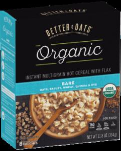 Packaging of Better Oats Organic Bare