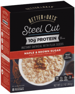 Packaging of Better Oats Steel Cut Maple & Brown Sugar with Protein