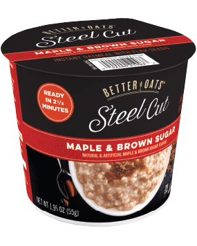 Packaging of Better Oats Steel Cut Maple & Brown Sugar Cup