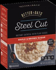 Packaging of Better Oats Steel Cut Maple & Brown Sugar