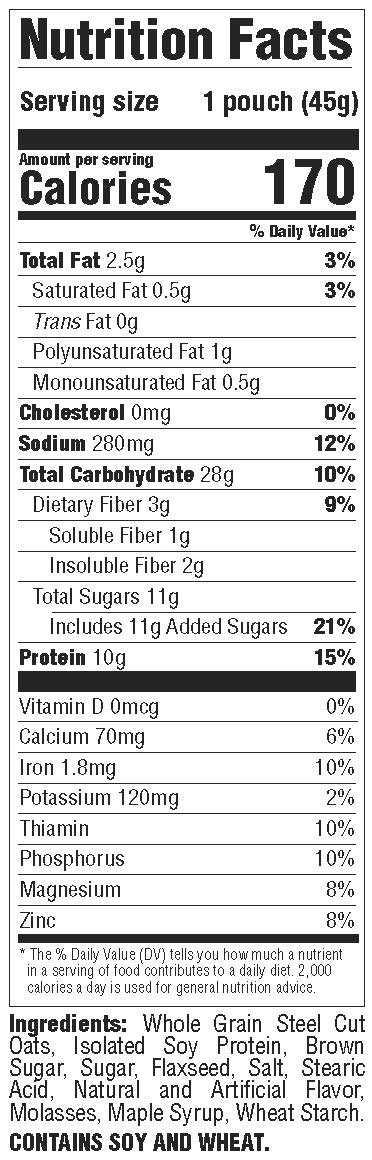 Better Oats- Stel Cut Maple & Brown Sugar Protein-Nutrition Facts Panel