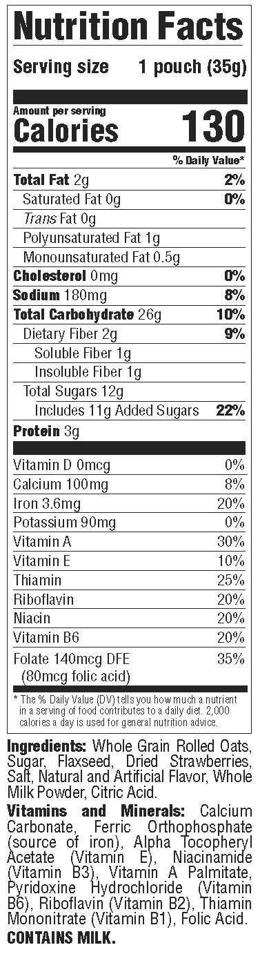 Better Oats - Classic Strawberries & Cream - Nutrition Facts Panel