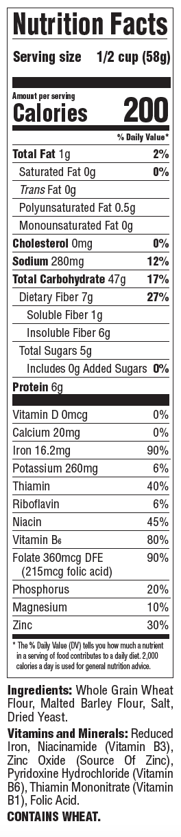 Grape Nuts Original Nutrition Panel