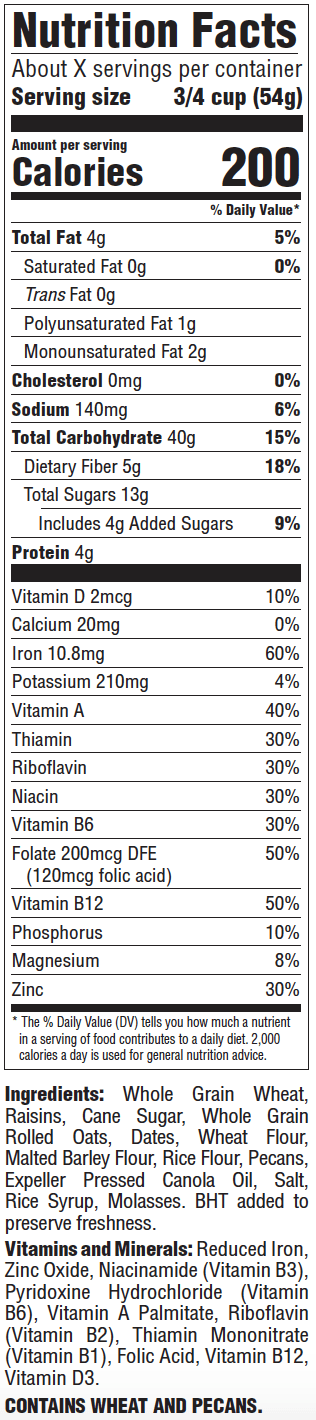 Nutrition facts for Great Grains Raisin Date Pecan Cereal