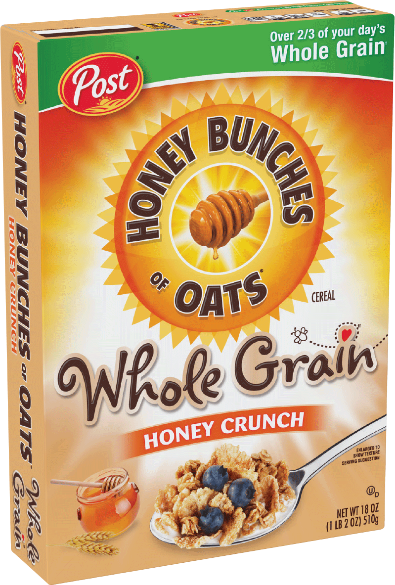 Packaging of Honey Bunches of Oats Whole Grain Honey Crunch
