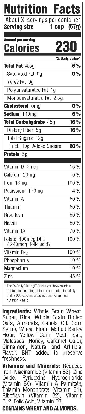 HWA-100 RTE - HBO Whole Grain Almond Crunch - NFP