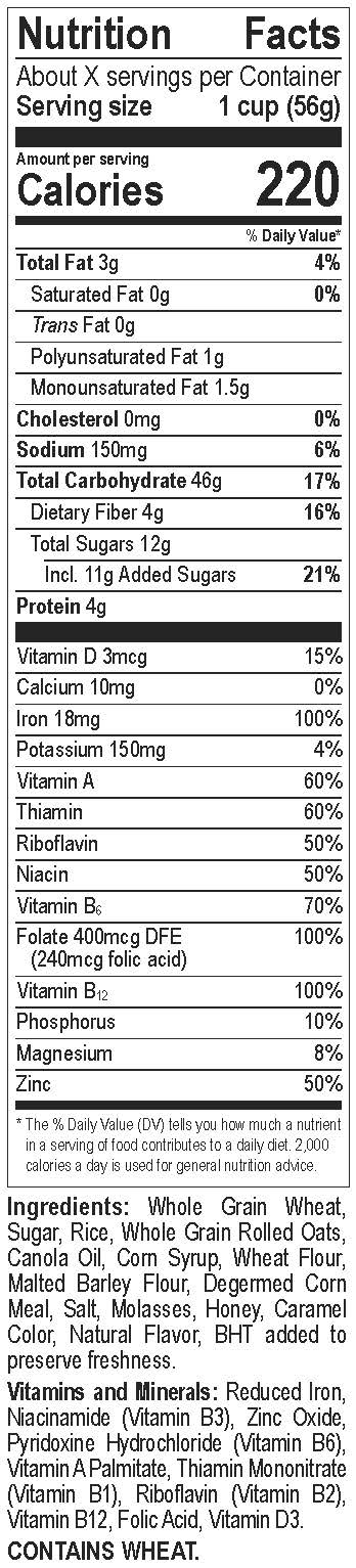 Honey Bunches of Oats Nutrition Facts Label
