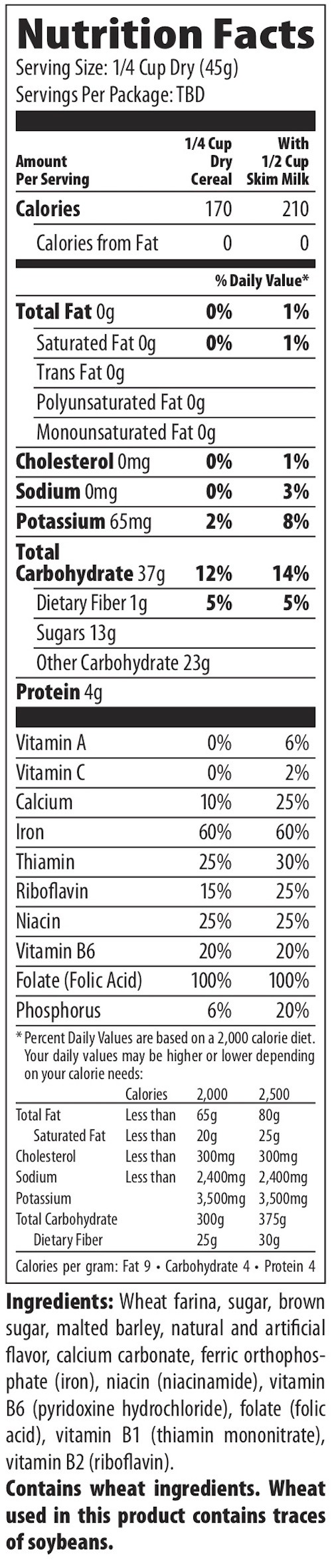 Nutrition Facts for Malt-O-Meal Maple & Brown Sugar Hot Wheat