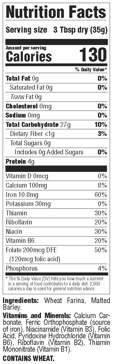 Malt O Meal original hot cereal nutrition facts