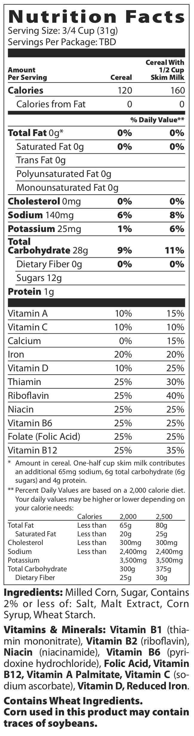 Nutrition Facts for Frosted Flakes