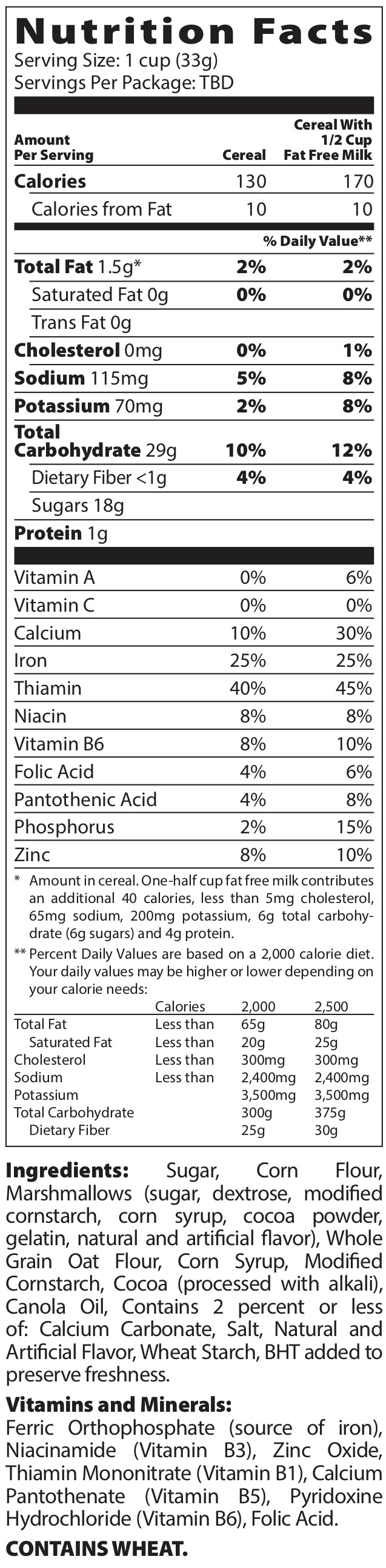 Nutrition Facts for Double Chocolate Brownie Crunch