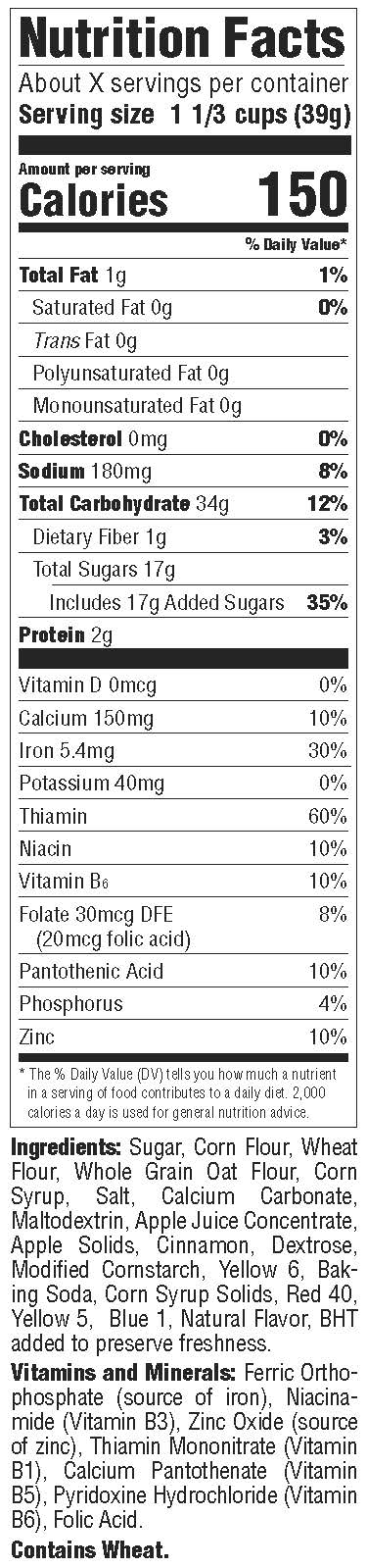 Malt O Meal Nutrition Facts Panel