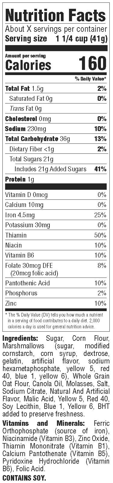 Berry Colossal Crunch Nutrition Facts Panel