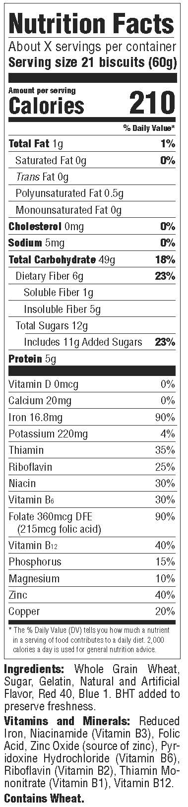 Strawberry Frosted Minis Nutrition Facts Label