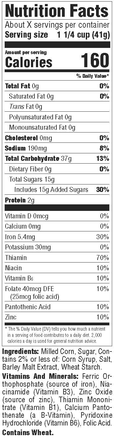 Frosted Flakes Nutrition Facts Label