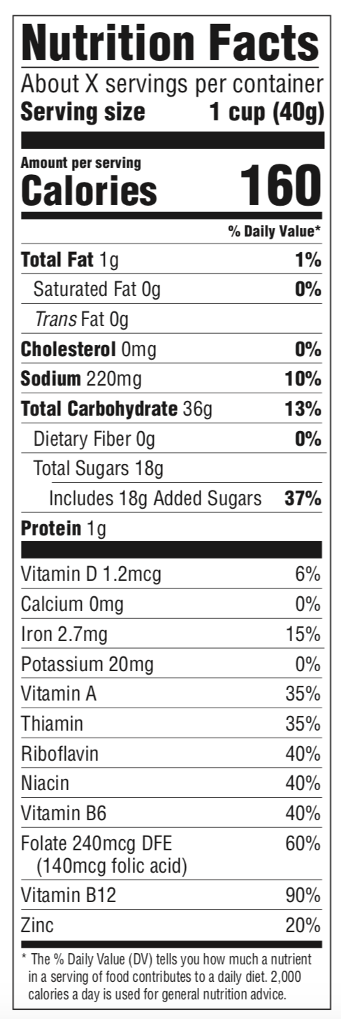 Marshmallow Fruity Pebbles Nutrition Panel
