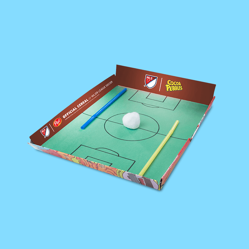 Cereal box soccer field craft