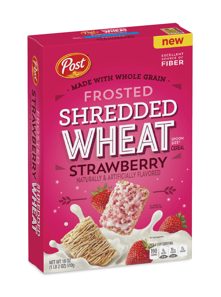 Post Shredded Wheat Frosted Strawberry cereal box