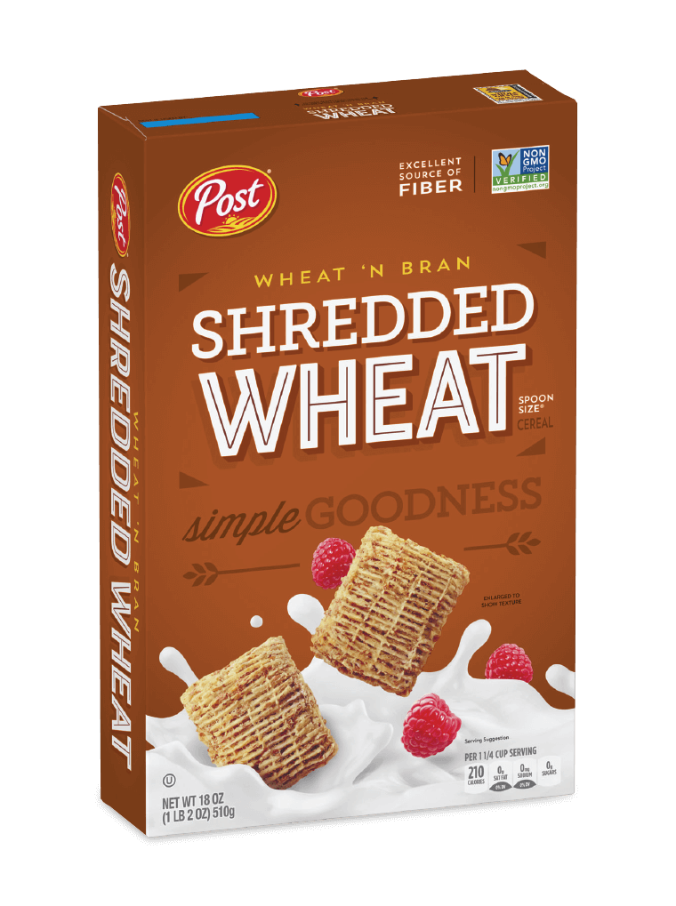 Post Shredded Wheat Wheat'n Bran cereal box