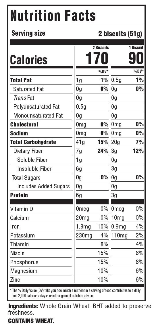 Shredded Wheat ORIGINAL BIG BISCUIT Nutrition Facts