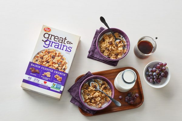 Great Grains cereal on kitchen table