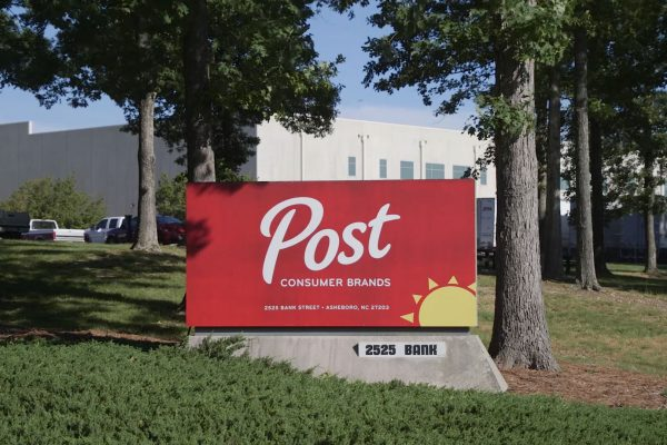 Welcome sign at the Post cereal plant in Asheboro, North Carolina