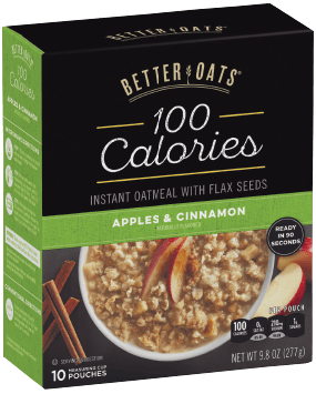 Packaging of Better Oats 100 Calorie Apples & Cinnamon