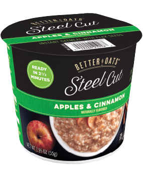 Packaging of Better Oats Steel Cut Apples and Cinnamon cup