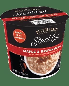 Packaging of Better Oats Steel Cut Maple & Brown Sugar Cup