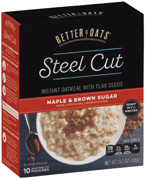 Packaging of Better Oats Steel Cut Maple & Brown Sugar