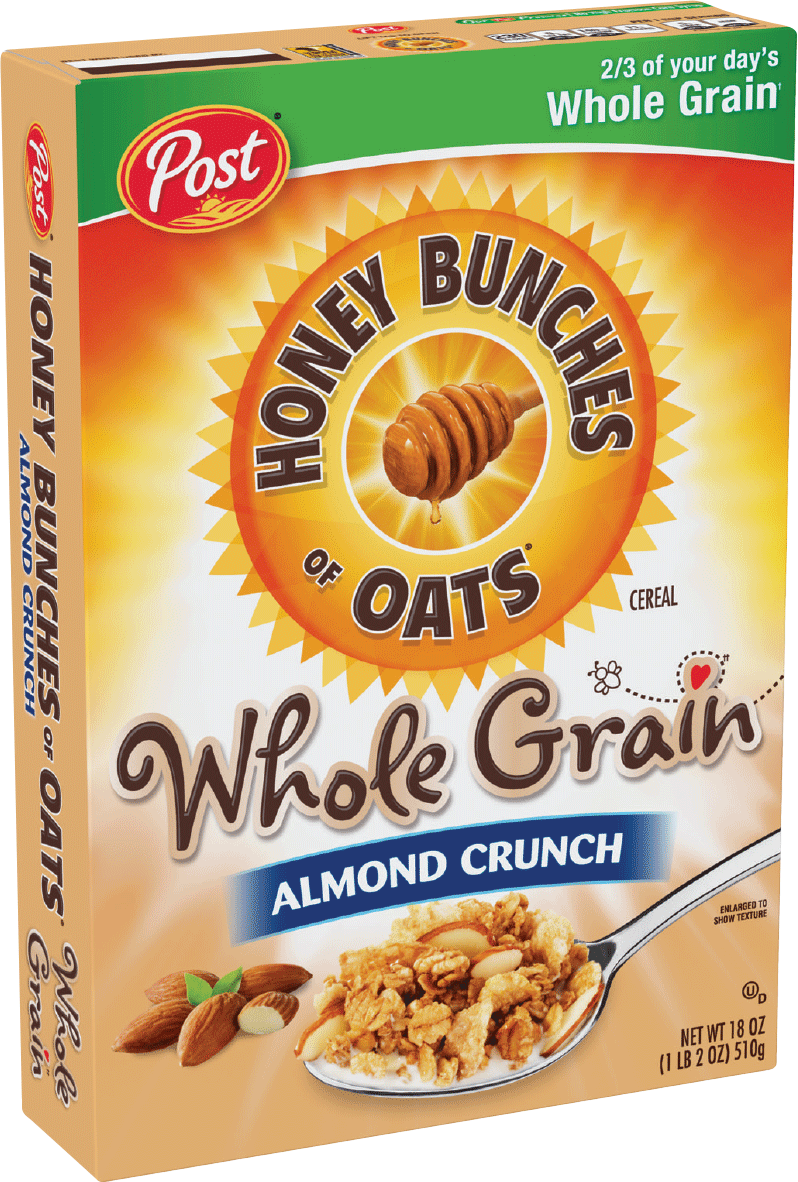Packaging of Honey Bunches of Oats Whole Grain Almond Crunch