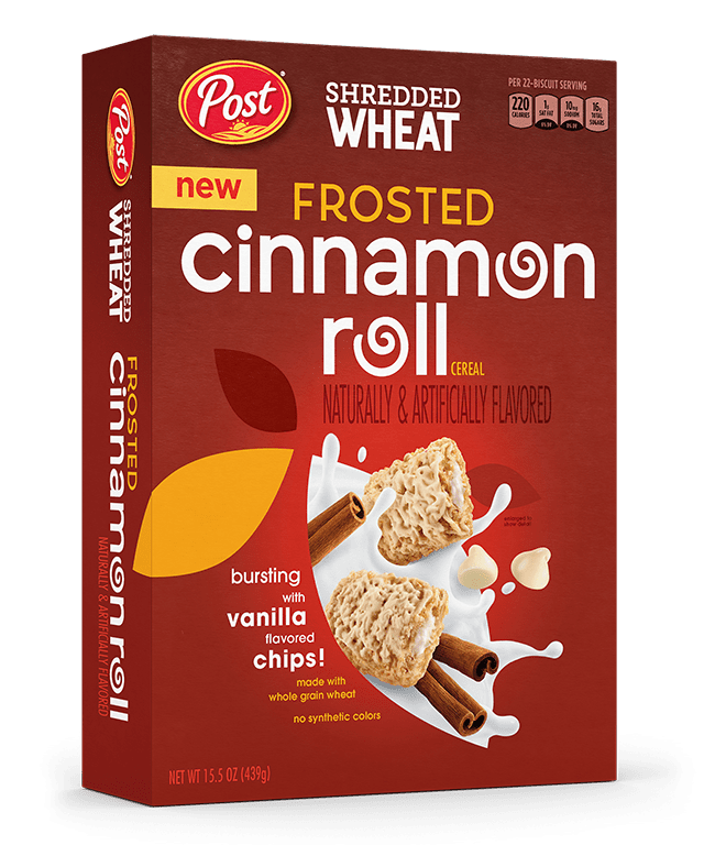 Packaging of Shredded Wheat Frosted Cinnamon Roll